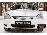 Защитная сетка решетки переднего бампера Lada (ВАЗ) Приора (хэтчбэк) 2012-2013
