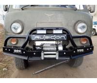 Бампер силовой передний УАЗ-452 РУБИКОН-3 с малым трубным кенгурином и швеллером с названием